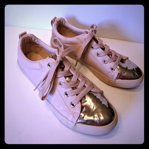 Twisted Pink Sneakers with Gold Accents